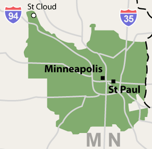 Service Area for Twin Cities Radon Services in Minnesota